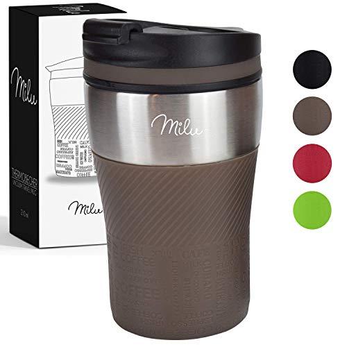 Milu Thermobecher Isolierbecher Kaffeebecher to go - 210ml 100% Auslaufsicher - Trinkbecher aus Edelstahl - Autobecher doppelwand Isolierung - Thermo Becher - Travel Mug (Braun)