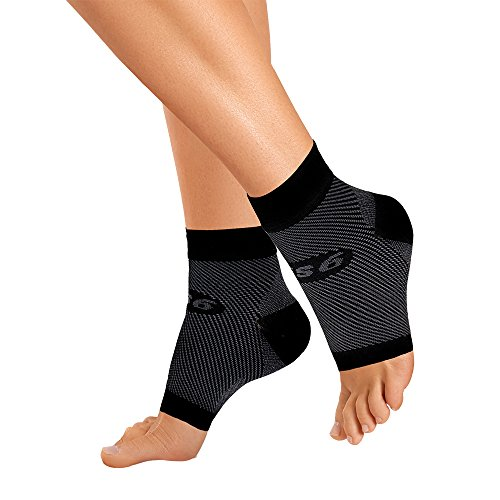 OrthoSleeve FS6 Compression Foot Sleeve (One Pair) for Plantar Fasciitis, Heel Pain, Achilles Tendonitis and Swelling