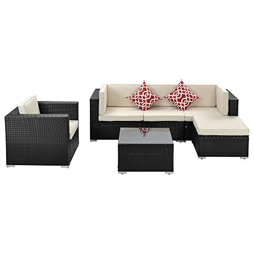 Moda Furnishings Outdoor Patio Furniture 6-Piece PE Rattan Wicker Sectional Cushioned Sofa Sets with 2 Pillows and Modern Glass Coffee Table
