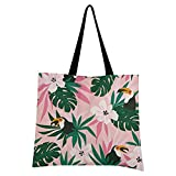 Livingsoft Tropische Blume Palmblatt Papagei Canvas Tote Bag Shopper Tasche Wiederverwendbare Echo-freundliche Lebensmitteltasche mit Reißverschlusstasche für Damen Herren