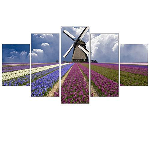 TIANJJss 5-delige afbeelding op canvas lila lavendel olieverfschilderij landschap schilderij wandschilderijen scène moderne lijst voor thuis 5 stuks