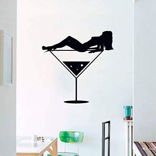 YuanMinglu Gilles Brillen Bar Wandsticker Glas Wandsticker alkoholische Getränke Flasche Art Design Dekoration schwarz 57x57cm