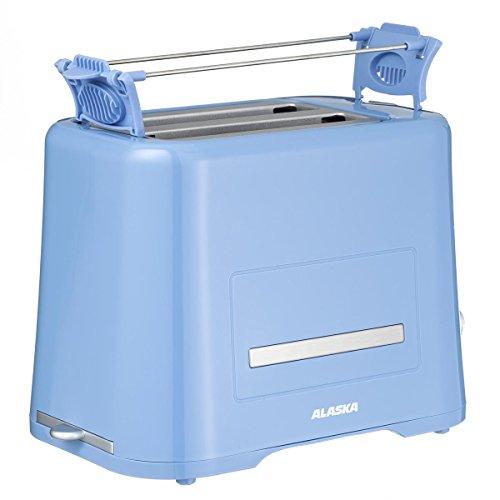 ALASKA Toaster TA 2209 DSB | Blau | Doppelschlitz | 2 Scheiben | Mit integriertem Brötchenaufsatz | Kabelaufwicklung | 870 W | elektr. Röstgradkontrolle