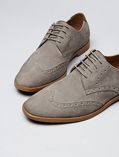 FIND Derby Schuhe mit Brogue-Design, Grau - 4
