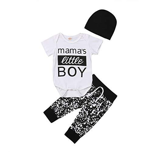 Frecoccialo Baby Jungen Kleidung Set 3 PCS Kurzarm Body Shirt + Schwarz Lange Hose Mama 's Little Boy Neugeborenes Outfit Sommer Bekleidungsset 0-18 Monate (Schwarz, 0-6m)