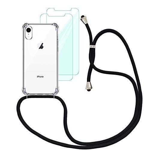 Yohii Funda con Cuerda Compatible con iPhone XR y [2 Pack] Cristal Templado Protector de Pantalla, Carcasa Transparente TPU Suave Silicon Colgante Ajustable Collar - Negro