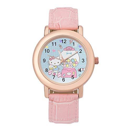 Reloj para mujer, de Hello Kitty, de dibujos animados, de piel sintética, analógica, de cuarzo, de aleación