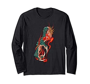 Neo Japanese Neo Traditional Tattoo Flaming Dragon Claw Long Sleeve T-Shirt