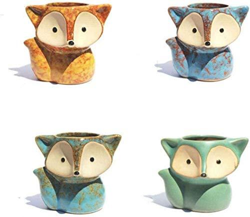 aipipl Sculptures Decoration,Ornaments And Figurines4 Pcs/Set Ceramic Succulent Plant Pot Micro Cute Mini Potted Small Flower Pot Bonsai Cartoon Planter