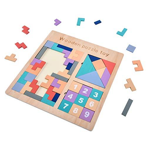 EKKONG Tetris Holzpuzzle für Kinder, Tangram Puzzle, Gehirntraining Spielzeug, Montessori Pädagigisches Spiel für Kleinkinder (3 in 1)