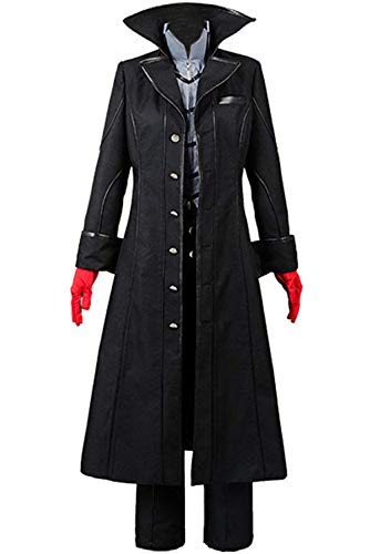 Ya-cos Persona 5 Protagonist Joker Cosplay Costume Coat Suit Jacket Outfit Top Attire Dress Up,Black,Large