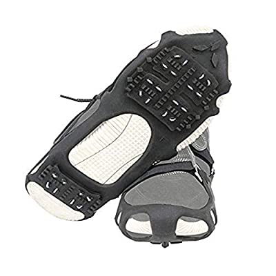 1 Pair of 24 Teeth Ice Snow Grips Grippers Anti-Slip Lite Duty Serious Walk Traction Cleats with 2 Removable Straps for Walking, Jogging, Hiking on Snow and Ice, Slippery Terrain Size: S/M/L/XL (XL)