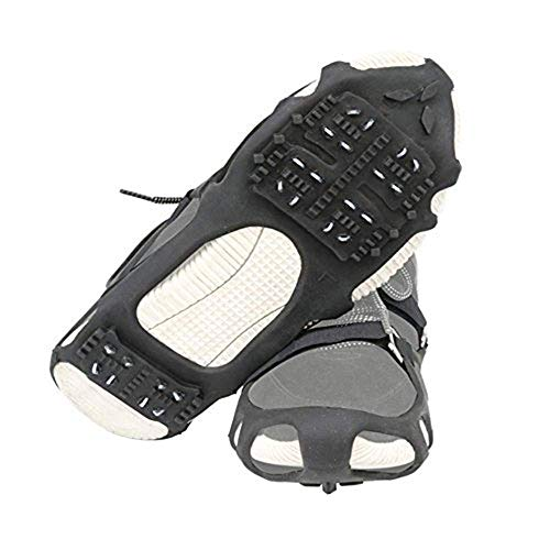 1 Pair of 24 Teeth Ice Snow Grips Grippers Anti-Slip Lite Duty Serious Walk Traction Cleats with 2 Removable Straps for Walking, Jogging, Hiking on Snow and Ice, Slippery Terrain Size: S/M/L/XL (S)