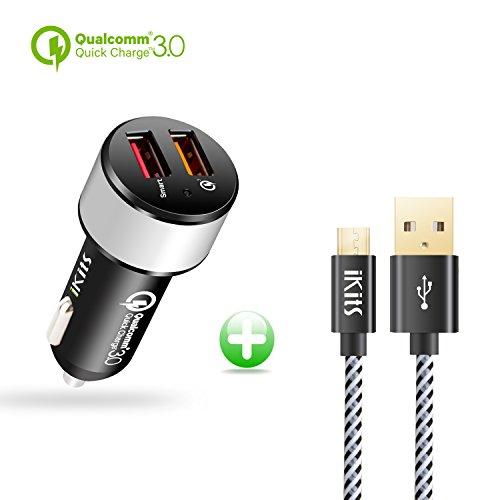 IKITS Quick Charge 3.0, 30W Caricatore da Auto, USB Car Charger 5V/2.4A+QC3.0 per Samsung Galaxy S7/S6/Edge/Plus/Note7/ 5/4, HTC, LG, Smart Port for iPhone 7/iPad PRO/Air 2/Mini +Cavo Micro USB