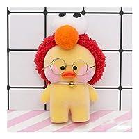 クリエイティブファッションメガネドールのために子供女の子ギフト車のおもちゃ装飾カーアクセサリーダック漫画ソフビぬいぐるみかわいいメガネ (Color : Yellow red)