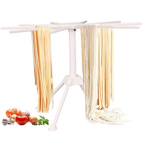 Nudeltrockner / Nudeltrockner mit 10 faltbaren Griffen, zum Aufhängen im Haushalt | Spaghetti-Trockengestell | einfache Lagerung und schnelle Montage (weiß)