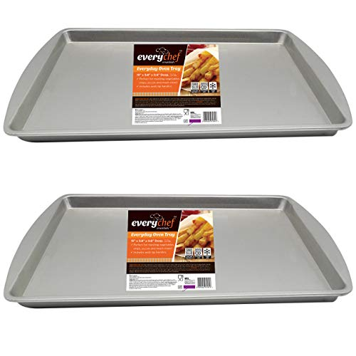 2pk Everyday Oven Tray Set | 38 x 25 x 1.5cm Rectangular Baking Sheets | Durable & Non-Toxic, Non-Stick Baking Trays by Every Chef