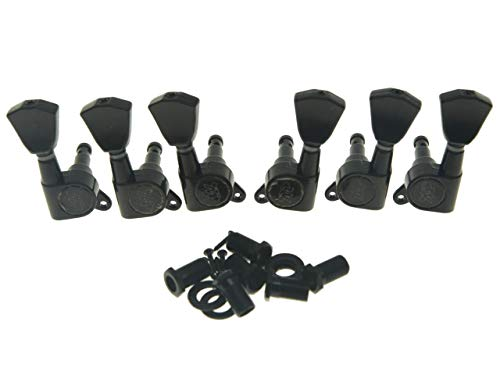 Wilkinson 3L3R Black E-Z-LOK Post Guitar Tuners EZ Post Guitar Tuning Keys Pegs Machine Heads with Tulip Button for Les Paul or Acoustic Guitar