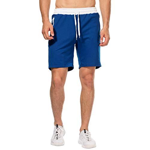 CHYU Herren Sport Joggen und Training Shorts Fitness Kurze Hose Jogging Hose Bermuda Reißverschlusstasch (2XL, Blue)