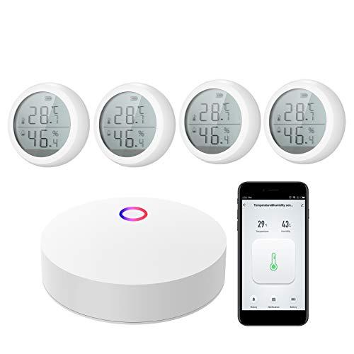 Kecheer Termómetro higrómetro digital compatible con Alexa,Medidor de temperatura y humedad interior y exterior,termometro ambiente precision,ZigBee