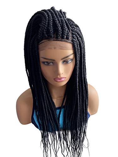 JBG SERVICES Authentic African Braided Wigs, Taiwo Medium Braid Wig For African American Women - 13X6 Lace Closure for Natural-Look Hairline - 2 Hair Pins Included - 22 Inch Color 1 Black