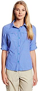 Columbia Sportswear Womens Silver Ridge Plaid Long Sleeve Shirt, Harbor Blue, X-Large