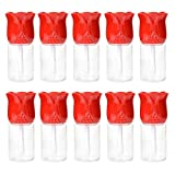 ONNPNN 10 Pieces Rose Flower Shaped Empty Lipgloss Tube 10.5ml Portable Refillable Clear Lip Gloss Bottles Mini Lip Balm Cosmetic Storage Containers DIY Makeup Beauty Tool for Lipstick Samples (Red)