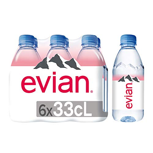 evian Natural Spring Water 330 mL 6-Count (Pack of 4), Bottled Natural Spring Water, Water Bottles, Naturally Filtered Spring Water in Mini-Sized Bottles, Great for Home or Work