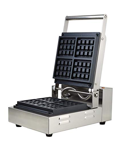YOOYIST Commercial Square Waffle Machine Waffle Maker Non-stick Waffle oven, Stainless steel 2460W, Muffin Waffle, Dessert for Restaurant Cafe