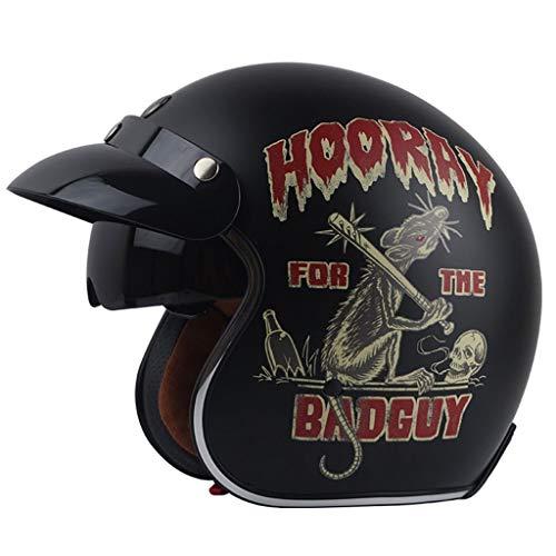 Casco Jet TYX, Casco de Motociclista, Casco Vespa-Helmet, para Bicicleta, Crucero, Picador,...