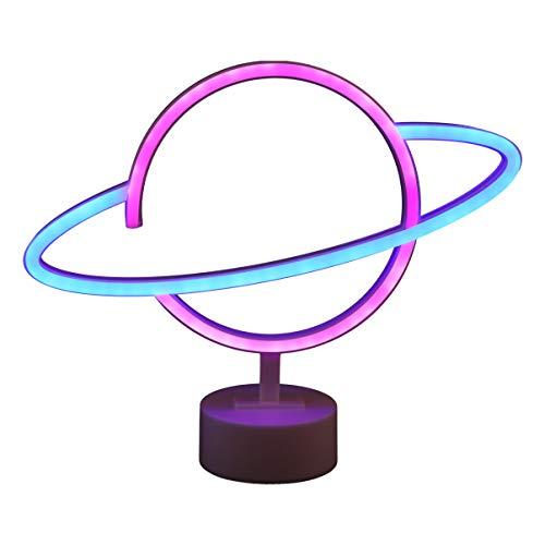OSALADI Planet Neonlicht Leuchtreklame Batterie Betrieben mit Basis Tisch Nachtlicht für Wohnzimmer Büro Home Party Dekoration (Weiß)