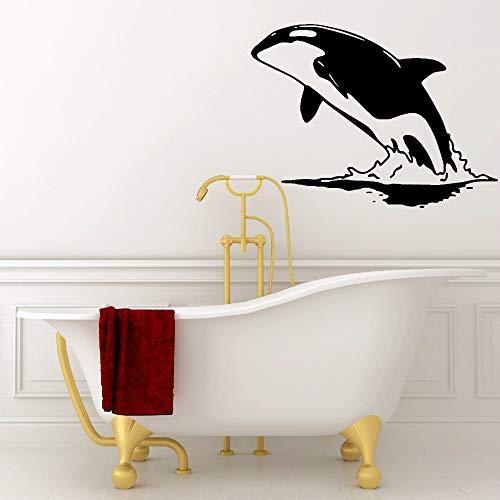 zqyjhkou Wal Vinyl Wandaufkleber Abnehmbare Springen Wasser Wal Wandtattoo Meerestier Poster Vinyl Aufkleber Bad Design Kunstwand Ay639 42x31 cm