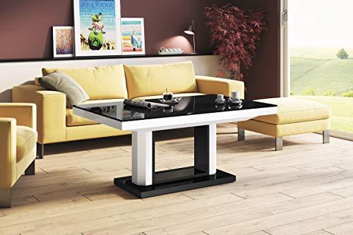 Design Couchtisch Tisch H-120 Schwarz/Weiß Hochglanz stufenlos höhenverstellbar ausziehbar Esstisch