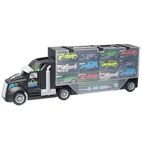 wivarra 13 Unids / Set Carrier Transporte CamióN de Juguete del Coche CamióN (Incluye AleacióN de 10 Autos y 2 HelicóPteros) para Ni?Os