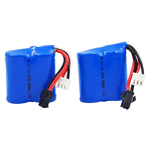 Blomiky 2 7.4V 600mAh 4.44Wh Lion Battery for Skytech TKKJ Blue Boat H100 H102 H106 and H120 RC Ship Boat H100 Battery 2 Pack