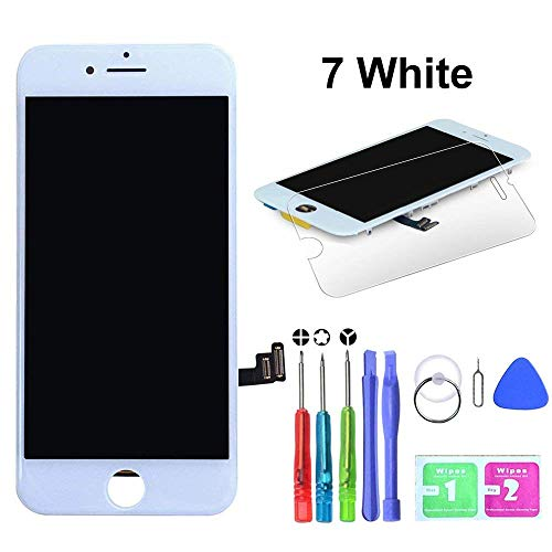 HTECHY Compatible with iPhone 7 Screen Replacement White(4.7') - Replacement for iPhone 7 Digitizer LCD Touch Screen Display Assembly with Complete Repair Tools Kit and Screen Protector