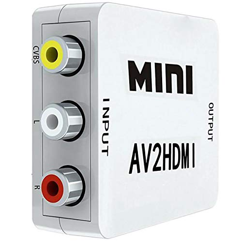 LPWCAWL RCA a HDMI, Convertidor de Audio y Video 1080P AV a HDMI, Adaptador CVBS Compuesto Mini RCA con Cable De Carga USB, Adecuado...