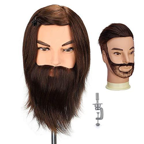 Neverland - Cabeza de peluquería profesional para hombre, cabeza de ejercicio, peluquería con barba – 100% cabello humano para estudio profesional en la Cosmetología