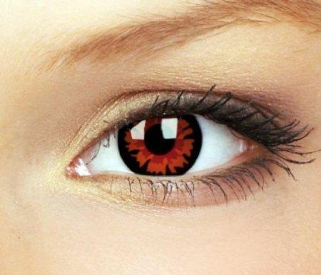Farbige rote Fun Kontaktlinsen Dämon VOLTURI Demon. Topqualität zu Karneval und Halloween twilight, crazy contact lenses rot. 1 Paar mit Kontaktlinsenbehälter.