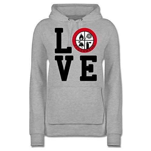Feuerwehr - Love Feuerwehr - XL - Grau meliert - Pullover Feuerwehr - JH001F - Damen Hoodie und Kapuzenpullover für Frauen
