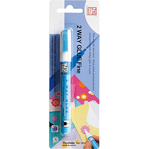 Kuretake ZIG 2 WAY GLUE 2mm Fine, Temporary or a Permanent bond, Great for re-positioning, AP-Certified, No mess, Photo-Safe, Acid Free, Lightfast, Odourless, Xylene Freeing, Made in Japan