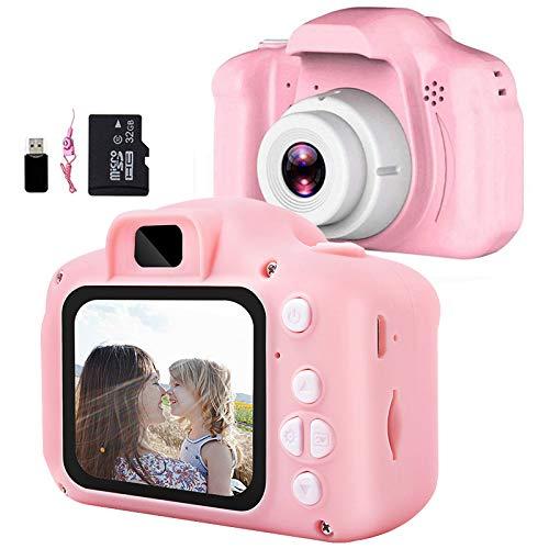 Aiboria Kinderspielzeug Kinder Digitalkamera für 3-9 Jahre alte Jungen Mädchen, Kleinkind Videorecorder 2 Zoll 1080P Geburtstagsgeschenke für 3 + jährige Kinder (inklusive 32G SD-Karte), Rosa