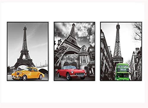 ZSLMX 3 Panel Auto Thema Muur Canvas Art Schilderen - Geel Rood Sedan En Groene Bus Onder De Eiffeltoren In Parijs Frankrijk - Grijs Cityscape Canvas Print Decor - Ingelijst En Klaar Om Hang