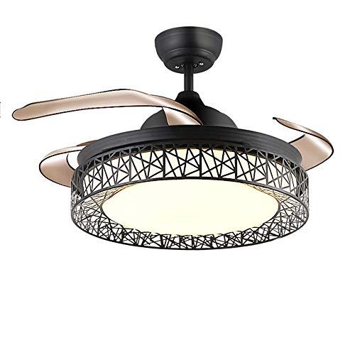 European Modern Chandelier, plafondventilator met onzichtbare vleugels, plafondventilator voor de woonkamer, Silent Copper motor, zwart, gelakt, 36 inch, 42 inch