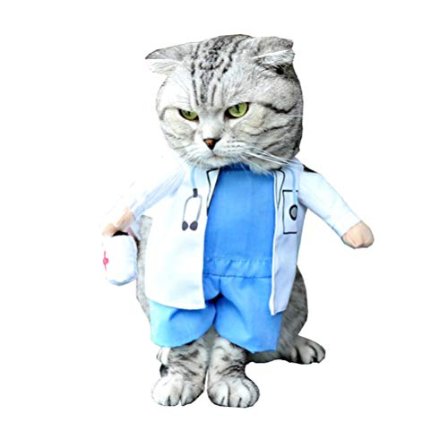 Yu-Xiang pet Doctors Costume Dog's Cosplay Clothes Cat Nurse Clothing Pet Standing Coat Halloween Party (XL)