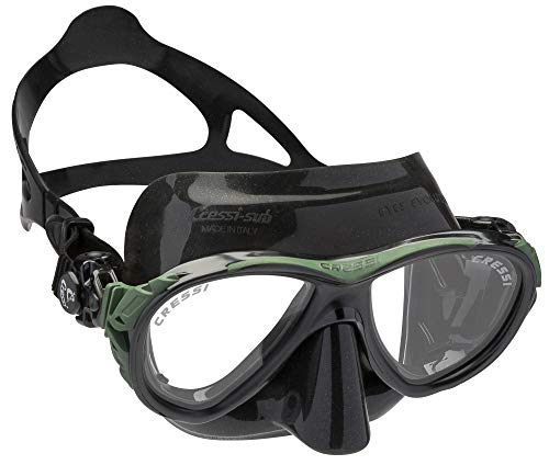 Cressi Maske Eyes Evolution Crystal Gafas de Buceo, Unisex, Negro/Verde