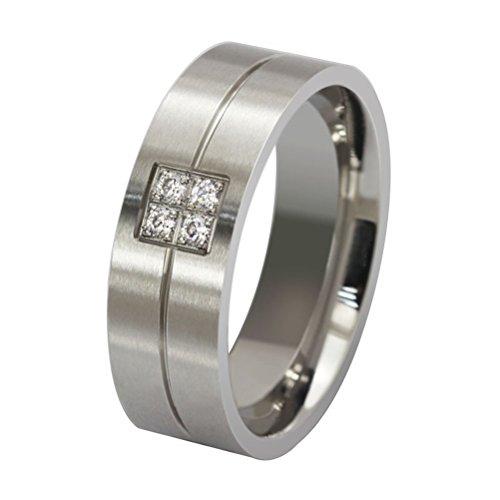 HIJONES Joyería Hombre Dominante Diamante Micro-Insertos Acero Inoxidable Anillo Talla 19 (Plata)