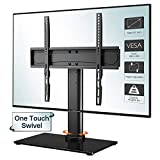 1home Swivel TV Stand Universal Table Top w/Glass Base for Most 26-55 inch LCD LED OLED Plasma Flat Curved Max. VESA 400x400mm 88lbs