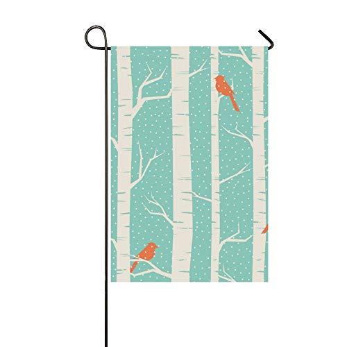 Enhusk Decoración del hogar al Aire Libre Abedules de Doble Cara Aves Bandera de jardín de Invierno, Bandera de Patio de casa, Decoraciones de jardín, Bandera de Bienvenida al Aire Libre de tempora