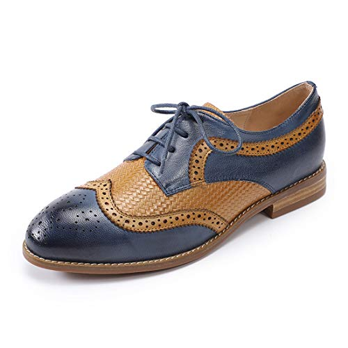 Mona flying Women's Leather Vintage Perforated Lace-up Oxfords Brogue Wingtip Derby Shoes for Ladies Women